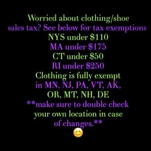 Other - Clothing Sales Tax Exemptions
